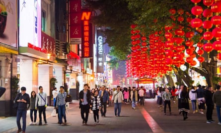 Pedestrian Street, Guangzhou, decorated for Spring festival
