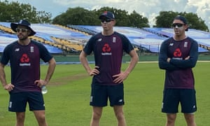 Ben Foakes, Zak Crawley and Dan Lawrence in an England training session at Hambantota