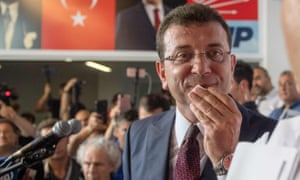 Ekrem Imamoglu, candidate of the secular opposition Republican People's Party (CHP), arrives to make his victory statement at CHP offices in Istanbul, on June 23, 2019.