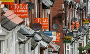 Terraced street with to let signs