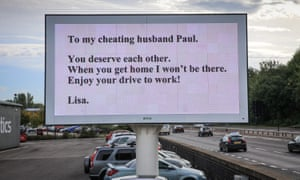 'Cheating husband' sign beside Sheffield Parkway
