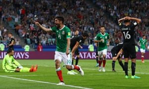 Oribe Peralta celebrates after scoring Mexico's second goal.