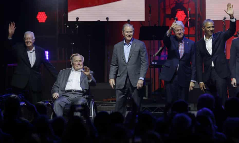 George HW Bush with Barack Obama, George W Bush, Jimmy Carter and Bill Clinton in College Station, Texas on Saturday.