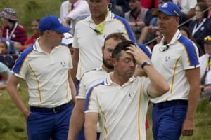 Team Europe's Rory McIlroy reacts with misery.