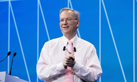 Eric Schmidt, executive chairman of Alphabet, Google's parent company. The conference room at New America Foundation is called the 'Eric Schmidt Ideas Lab'.