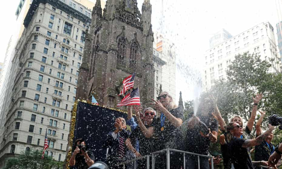 Megan Rapinoe and team during the Broadway ticker tape parade.