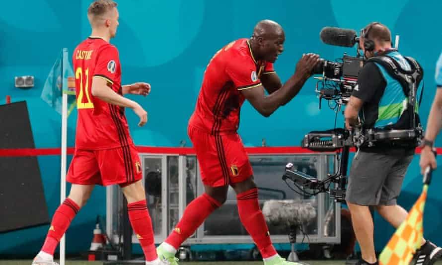 Romelu Lukaku sends a message of support to Christian Eriksen after scoring in Belgium's win over Russia