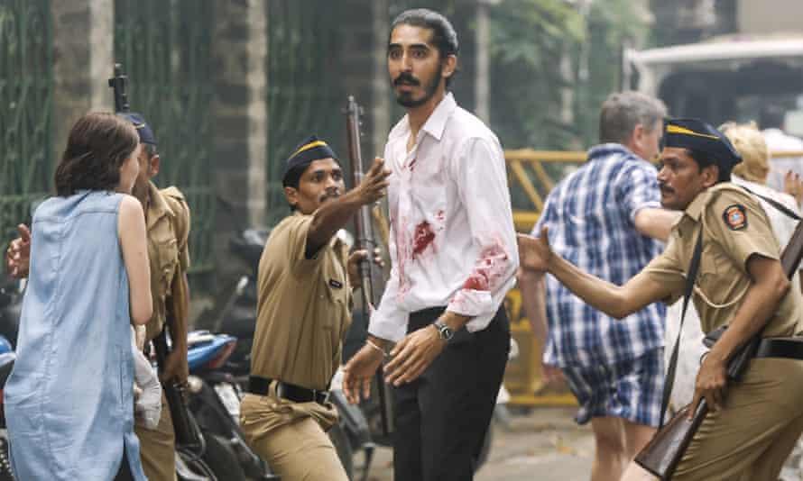 Bloodied … Dev Patel in Hotel Mumbai.