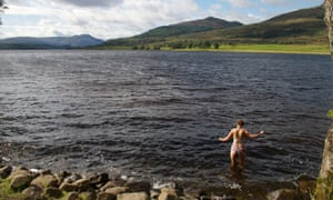 Swimming in Loch Venachar, Rob Roy Way, Scotland