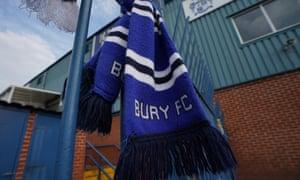 A scarf hanging at Bury's Gigg Lane ground this week.