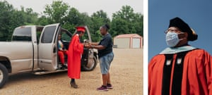 Left: Domonique Levy waits with her family for her appointed time to receive her diploma. Right: Dr James Henderson, school district superintendent, attends Holmes County Central high school's graduation ceremony.