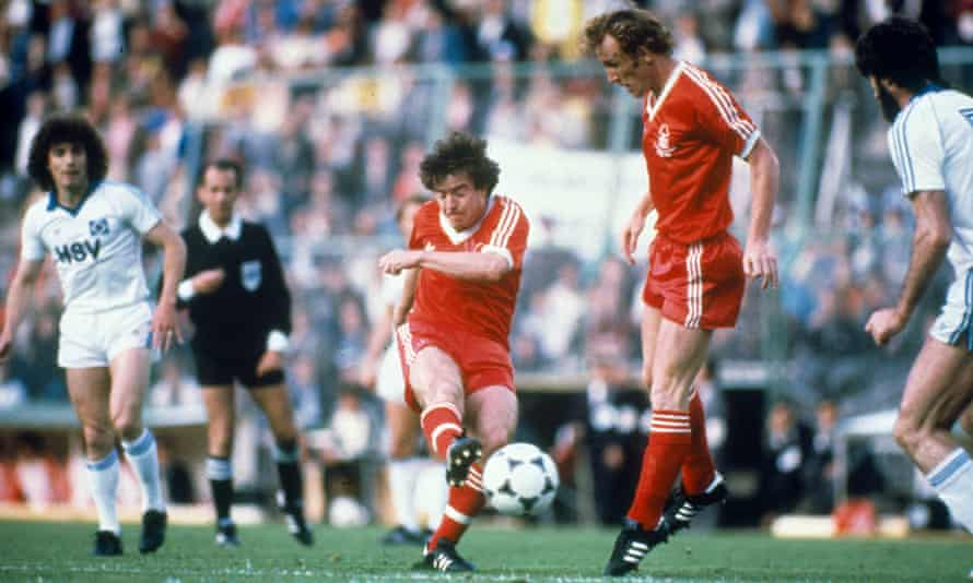 John Robertson scores the winner for Nottingham Forest against Hamburg in 1980 as Brian Clough's side defended the European Cup.