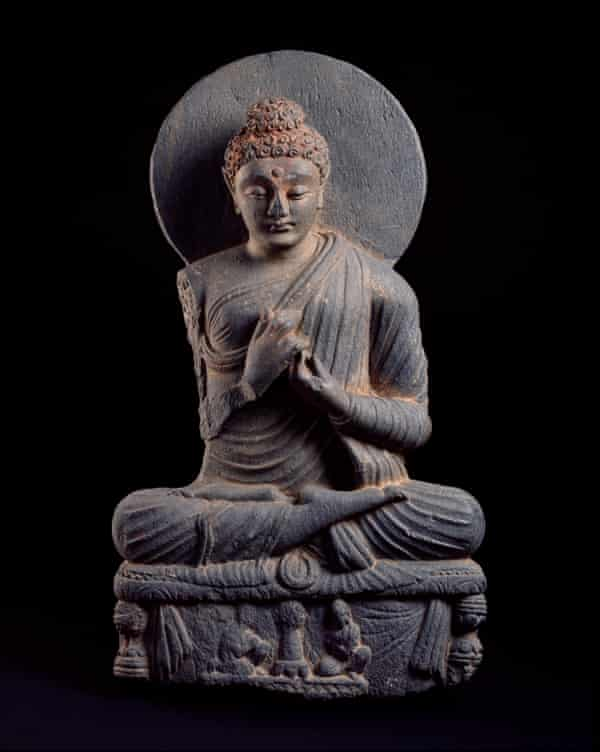 Seated Buddha, carved in Gandhara in the early centuries AD.