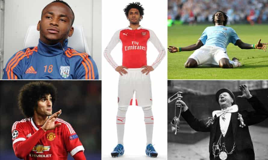 Saido Berahino, Mohamed Elneny, Emmanuel Adebayor, a Portsmouth fan and Marouane Fellaini.