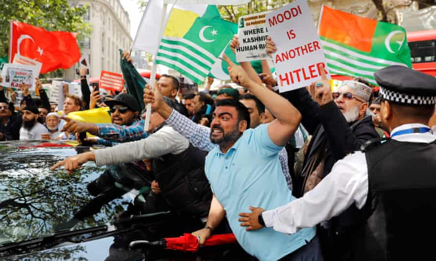 Protests in London against direct rule in Indian-held Kashmir.