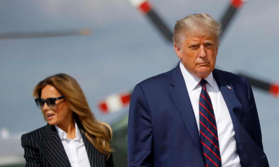 Trump and the first lady, Melania Trump, board Air Force One on Tuesday 29 September as they depart Washington to participate in the first presidential debate with Democratic presidential nominee Joe Biden in Cleveland, Ohio.