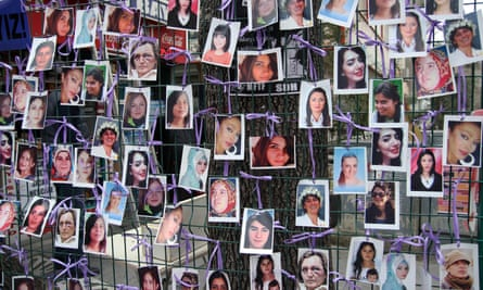 A photo exhibition of murdered women staged as a protest against violence towards women in Ankara, March 2015.
