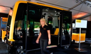 The continental urban mobility experience (Cube) – a robo-taxi and autonomous vehicle to transport passengers, in use in Hannover, Germany.