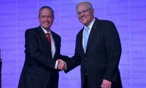 The Labor leader, Bill Shorten, and the prime minister, Scott Morrison, before the third leaders' debate, which is hosted by the National Press Club and moderated by Sabra Lane