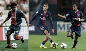 Rai, Dani Alves and Ronaldinho playing for PSG