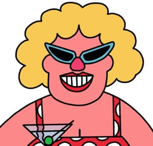 A smiling pensioner in 50s sunglasses and a swimsuit holding a martini