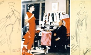 Christian Dior with model Lucky, circa 1955. Sketch by Christian Dior for model Londres, Autumn-Winter 1950 Haute Couture collection (left) and Sketch by Christian Dior for model Oxford, spring-summer 1947 Haute Couture collection (right).