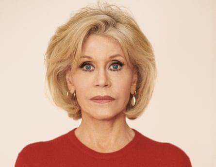 Jane Fonda in a red jumper