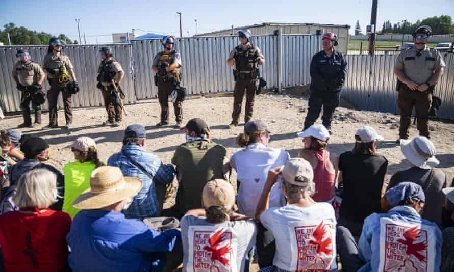 Indigenous protesters and allies occupied an Enbridge site on 7 June, some chaining themselves to equipment.