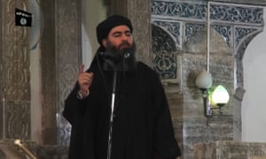 Abu Bakr al-Baghdadi addresses Muslim worshippers at a mosque in the Iraqi city of Mosul in 2014.