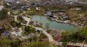 Aerial view of venue of the International Horticultural Exhibition 2019 Beijing in Yanqing