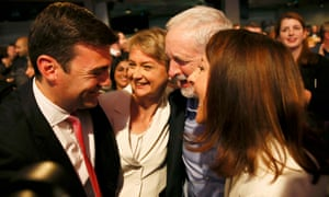 Labour leadership candidates Andy Burnham, Yvette Cooper and Liz Kendall congratulate winner Jeremy Corbyn in 2015.