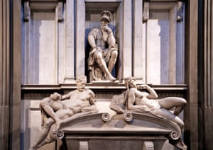 Marble sculpture by Michelangelo Buonarroti at the Medici Chapel