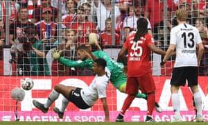 Eintracht Frankfurt's Sebastian Haller scores their first goal.