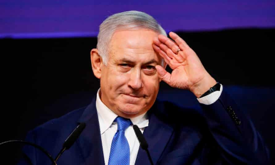 Benjamin Netanyahu addresses supporters at his Likud party headquarters in Tel Aviv.