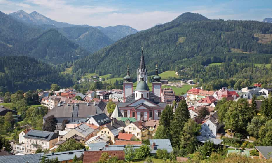 view of Mariazell, with mountains beyond