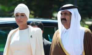 The former emir of Qatar and his wife Sheikha Mozah, with whom Cherie Blair tried to connect Hillary Clinton