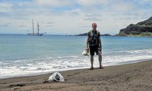 Nasa researcher Dan Slayback making land on the new Tongan Island