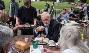 Jeremy Corbyn takes a break for lunch at Keswick Museum.