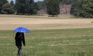 Someone (presumably an anti-Brexit campaigner, judging by the EU umbrella) walking in the field near Chequers.