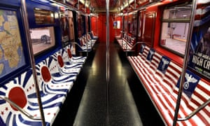 The New York City Subway 42nd Street shuttle train is covered in symbols from Nazi Germany and Imperial Japan, to promote the Amazon TV series The Man in the High Castle.