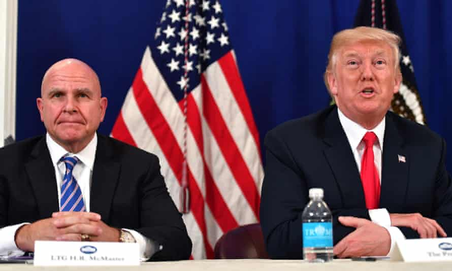Donald Trump, with HR McMaster, speaks during a security briefing at his Bedminster resort in New Jersey, in 2017.