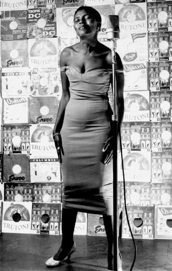 Miriam Makeba posing for a Drum cover in Johannesberg in 1955.