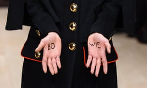 A model with 'Bowie' on her hands during the Burberry show on the final day of the autumn/witner 2016 London Collections Men.
