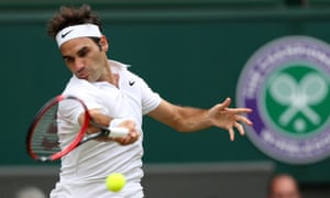 Roger Federer in action on Centre Court during Wimbledon 2016