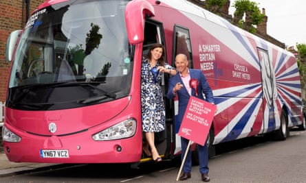 Kirstie Allsopp and Phil Spencer with their 'Smart Energy' bus. They toured the UK persuading households to use a smart meter.