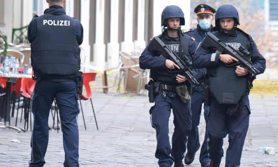 Armed police officers patrol  in Vienna on Tuesday.