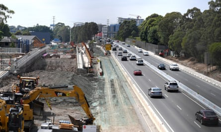 Construction of the M4 motorway extension in Sydney Australia
