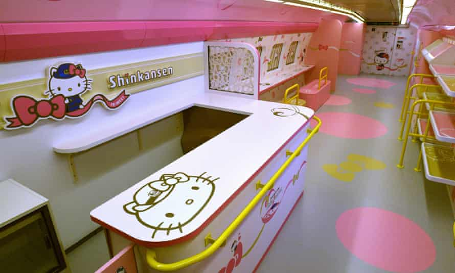 Pink is the prevailing colour inside the Hello Kitty train.