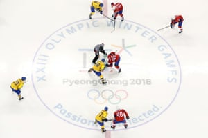 An overhead view of the men's ice hockey preliminary round group C game between Norway and Sweden.