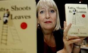Lynne Truss, self-declared punctuation vigilante, with copies of her worldwide surprise bestseller Eats, Shoots, and Leaves